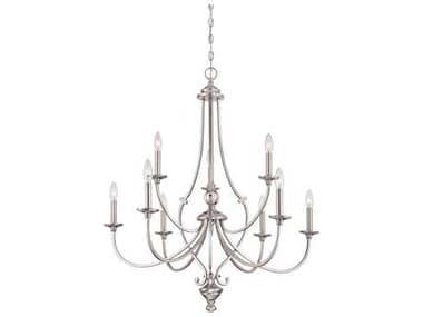 Minka Lavery Savannah Row Brushed Nickel Glass Medium Chandelier MGO333984