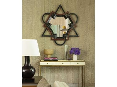 Mirror Image Home Balmer Red / Blue / Chocolate Lacquer / Gilt 45''W x 50''H Wall Mirror MIHMSS4056