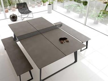 Modloft Amsterdam Gray Ping Pong Table with Bench Set MOLDEGHTPPTBLCSET