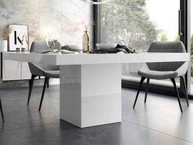 Modloft Beech White Glass 59'' Wide Square Dining Table MOLMJK25300L6V6