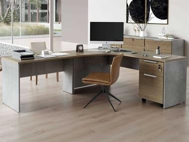 Modloft Broome Latte Walnut Left-Facing L-Shaped Desk with File Cabinet MOLDEWA711LSET