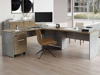 Modloft Broome Latte Walnut Right-Facing L-Shaped Desk with File Cabinet MOLDEWA711RSET