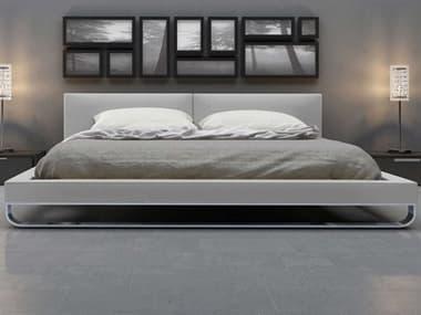 Modloft Chelsea Pearl Gray Eco Leather King Platform Bed MOLMD331KGRY