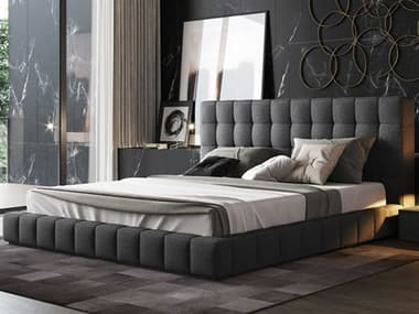 Modloft Thompson Carbon Gray Fabric King Platform Bed MOLMD321KLNK57