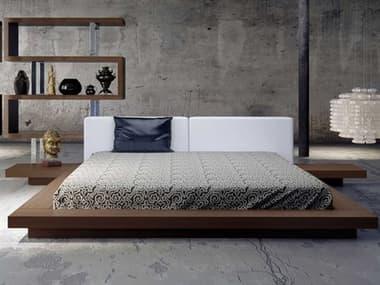 Modloft Worth White Eco Leather and Walnut King Platform Bed MOLHB39AKWALWHT