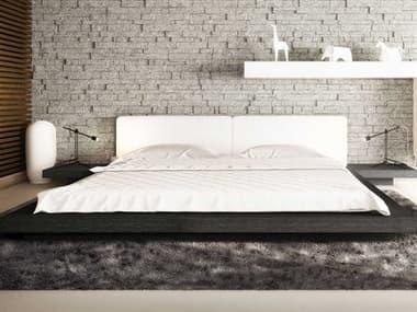 Modloft Worth White Eco Leather and Gray Oak Queen Platform Bed MOLHB39AQGOKWHT