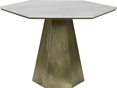 Noir Furniture Dining Antique Brass 43'' Wide Hexagon Table NOIGTAB500MB