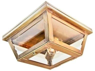 Northeast Lantern Williams Antique Brass One-Light 9'' Wide Flush Mount Light with Clear Glass NL4104ABMEDCLR
