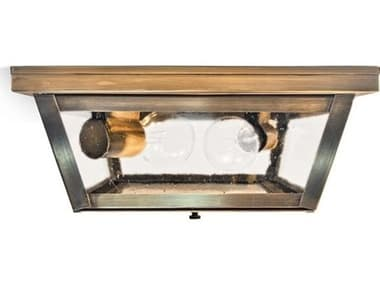 Northeast Lantern Williams Antique Brass Two-Light 11'' Wide Flush Mount Light with Clear Seedy Glass NL4204ABMED2CSG