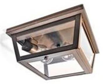 Northeast Lantern Williams Dark Brass Two-Light 11'' Wide Flush Mount Light with Clear Glass NL4204DBMED2CLR