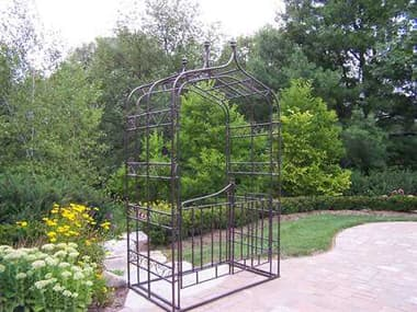 Oakland Living Mississippi Wrought Iron Gothic Arbor with Gate OL5127HB