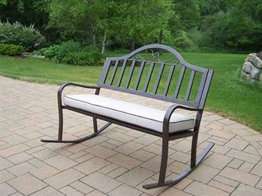 Oakland Living Rochester Wrought Iron Rocking Bench with Cushion OL61252HB