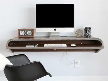 Orange22 Minimal Walnut 51''L x 16''D Rectangular Large Wall Mounted Desk with Pull-Out Drawer O2MINWDWALLRG