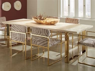 Phillips Collection Gold / Beige 95'' Wide Rectangular Dining Table PHCPH96674