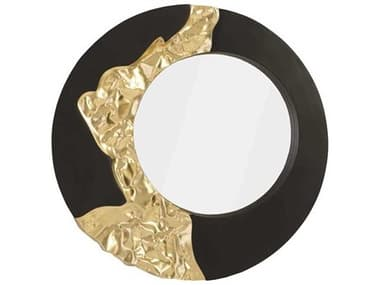 Phillips Collection Black / Gold 39'' Wide Round Wall Mirror PHCPH92307