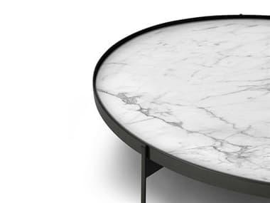 Pianca Abaco Calacatta Matt Marble / Glossy Titanio Round Coffee Table PIAT0ACALACATTATITANIO