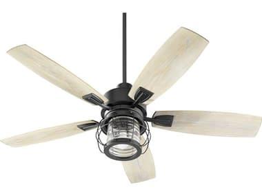 Quorum International Galveston Noir One-Light 52'' Wide Outdoor Ceiling Fan with Weathered Oak Blades QM1352569