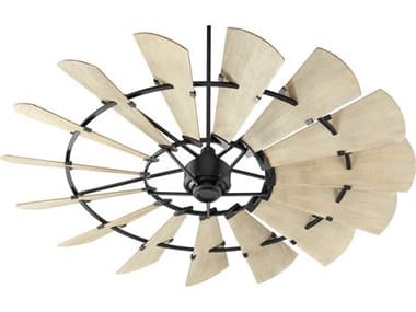 Quorum International Windmill Noir 72'' Wide Indoor Ceiling Fan with Weathered Oak Blades QM9721569
