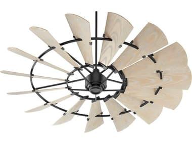 Quorum International Windmill Noir 72'' Wide Outdoor Ceiling Fan with Weathered Oak Blades QM19721569