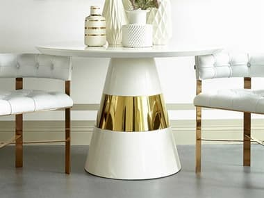 Sonder Distribution Band Snow Lacquer with Mirrored Brass Band 47'' Wide Round Dining Table RD1401022