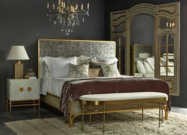 Sonder Distribution Gilded Gilded Glass with Eglomise & Gold Queen Size Platform Bed RD1303042SET