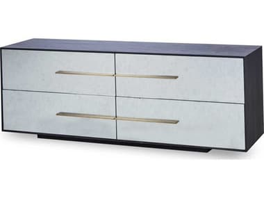 Sonder Distribution Waters Smoked Black Oak with Glass-Silverleaf Eglomise Four-Drawers Double Dresser RD0704310