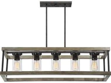 Savoy House Eden Weathervane Five-Light 38'' Wide Outdoor Pendant Light with Clear Glass SV12101570