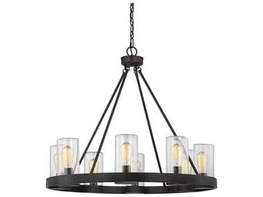 Savoy House Inman English Bronze Eight-Light 32'' Wide Outdoor Pendant Light with Clear Glass SV11130813