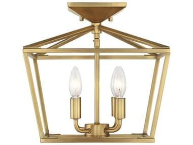 Savoy House Townsend Warm Brass 4-light 13'' Wide Semi-Flush Mount SV63284322