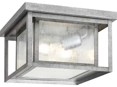 Sea Gull Lighting Hunnington Weathered Pewter Two-Light Outdoor Flush Mount Light SGL7802757