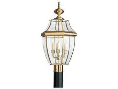 Sea Gull Lighting Lancaster Polished Brass Three-Light Outdoor Post SGL823902