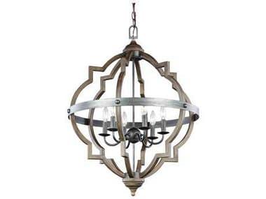 Sea Gull Lighting Socorro Stardust / Cerused Oak Six-Light 31.75'' Wide Chandelier SGL5124906846