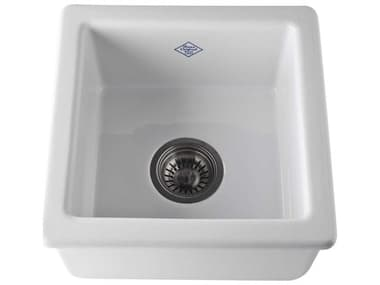 Shaws White 15'' Wide Original Lancaster Square Single Bowl Bar / Food Prep Sink SODRC1515WH