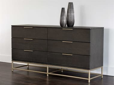 Sunpan Modern Home Artezia Charcoal Grey / Gold Six-Drawer Double Dresser SPN104609