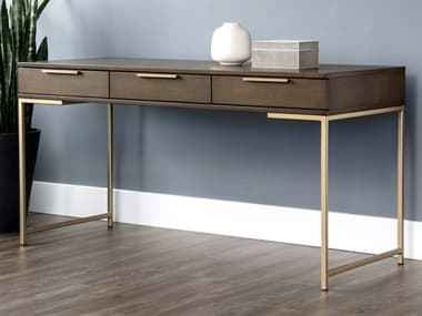 Sunpan Modern Home Artezia Umber Brown / Gold Secretary Desk SPN104610