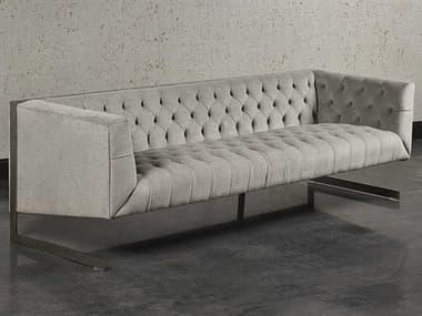 Sunpan Modern Home Club Polo Stone / Silver Sofa Couch SPN104288