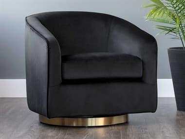 Sunpan Modern Home Hazel Black Sky / Gold Swivel Accent Chair SPN104003