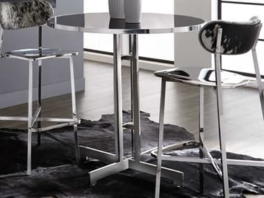 Sunpan Modern Home Ikon Black / Silver 40'' Wide Round Bar Height Dining Table SPN101056