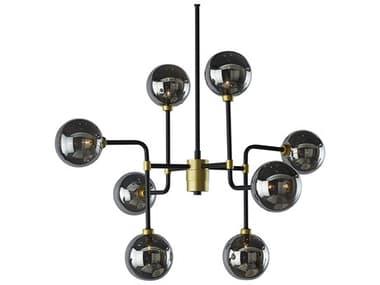 Sunpan Modern Home Ikon Grey / Black Gold 8-light 31'' Wide Glass Medium Chandelier SPN105716