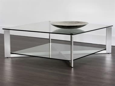 Sunpan Modern Home Ikon Silver / Brushed Steel 43'' Wide Square Coffee Table SPN101489