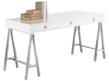 Sunpan Modern Home Ikon High Gloss White / Polished Steel Secretary Desk SPN53576