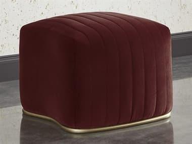 Sunpan Modern Home Mixt Velvet Merlot / Antique Brass Ottoman SPN104137