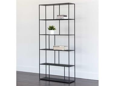 Sunpan Modern Home Mixt Matte Black 35'' Wide Bookcase SPN104406