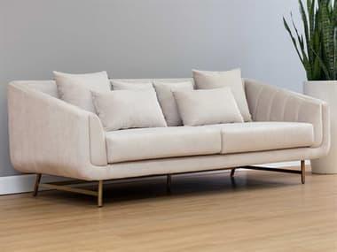 Sunpan Modern Home Mixt Polo Club Muslin / Antique Brass Sofa Couch SPN105336