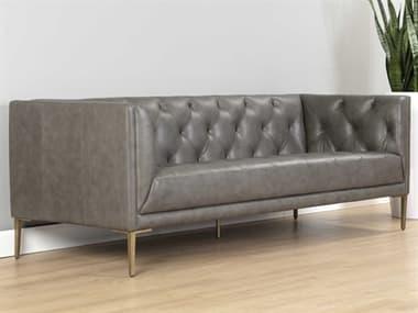 Sunpan Modern Home Mixt Vintage Steel Grey / Antique Brass Sofa Couch SPN105730