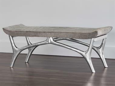 Sunpan Modern Home Moncasa Grey / Polished Steel Accent Bench SPN103078
