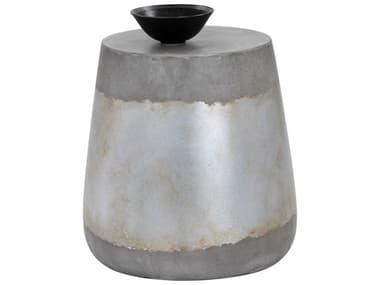 Sunpan Modern Home Solterra Silver 15'' Wide Round Drum Table SPN101376
