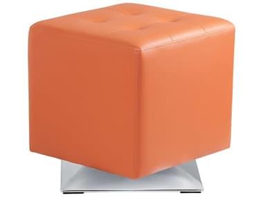 Sunpan Modern Home Urban Unity Orange / Polished Steel Swivel Ottoman SPN100894