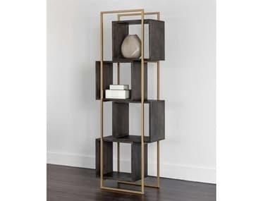 Sunpan Modern Home Brown / Gold Bookcase SPN103907