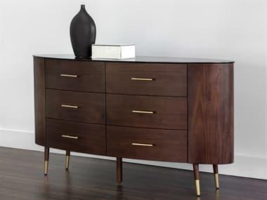 Sunpan Modern Home Zenn Brown / Brushed Gold Six-Drawer Double Dresser SPN104252